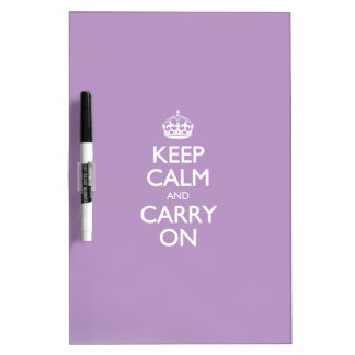 Violet African Keep Calm And Carry On White Text Dry-Erase Whiteboard