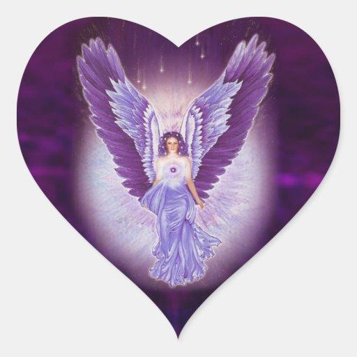 Violet Amethyst Angel Heart Stickers