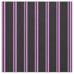 [ Thumbnail: Violet and Black Lined Pattern Fabric ]