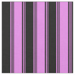 [ Thumbnail: Violet and Black Lined/Striped Pattern Fabric ]