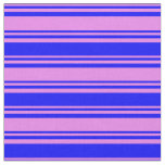 [ Thumbnail: Violet and Blue Colored Stripes Fabric ]