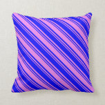 [ Thumbnail: Violet and Blue Colored Stripes Throw Pillow ]
