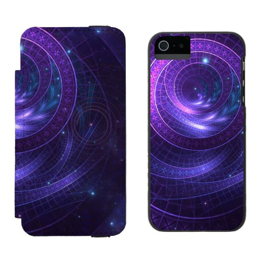Violet and Blue Geometry of a Celestial Wormhole iPhone SE/5/5s Wallet Case