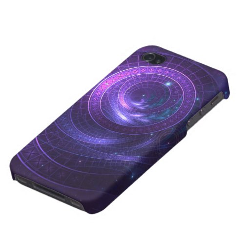 Violet and Blue Geometry of a Celestial Wormhole Case For iPhone 4