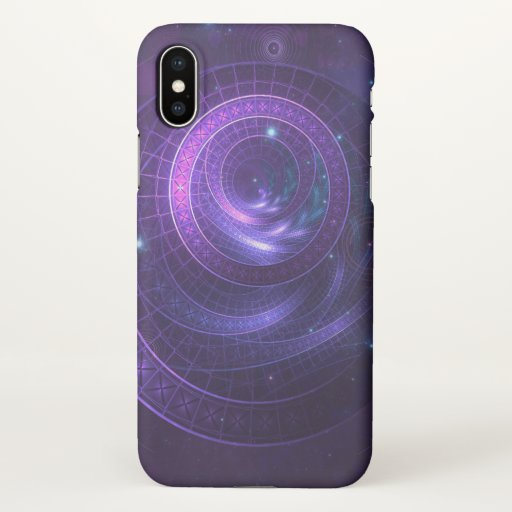 Violet and Blue Geometry of a Celestial Wormhole iPhone X Case