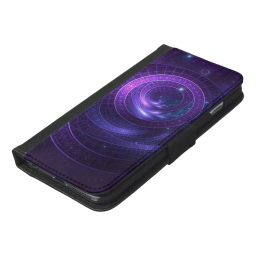 Violet and Blue Geometry of a Celestial Wormhole iPhone 6/6s Plus Wallet Case