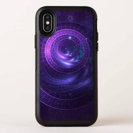 Violet and Blue Geometry of a Celestial Wormhole OtterBox Symmetry iPhone X Case
