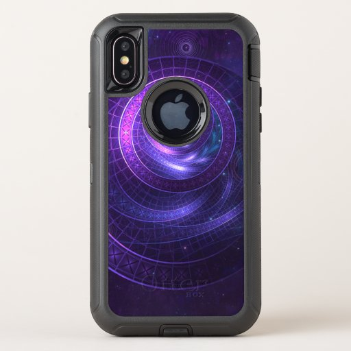 Violet and Blue Geometry of a Celestial Wormhole OtterBox Defender iPhone X Case