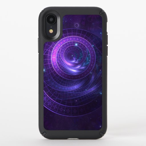 Violet and Blue Geometry of a Celestial Wormhole Speck iPhone XR Case