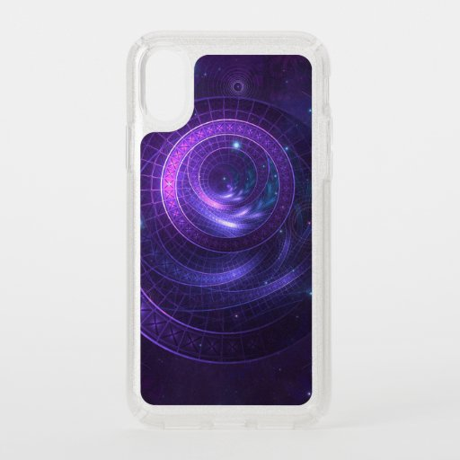 Violet and Blue Geometry of a Celestial Wormhole Speck iPhone X Case