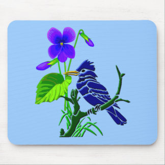 Violet and Blue Jay Mouse Pad