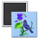 Violet and Blue Jay Refrigerator Magnet
