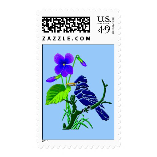 Violet and Blue Jay Stamps