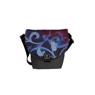 Violet and Crimson Scroll Fleur Bag Messenger Bag