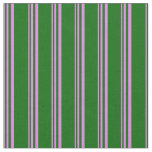 [ Thumbnail: Violet and Dark Green Colored Striped Pattern Fabric ]