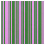 [ Thumbnail: Violet and Dark Green Colored Stripes Pattern Fabric ]