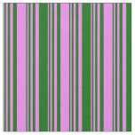 [ Thumbnail: Violet and Dark Green Lines Fabric ]