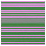 [ Thumbnail: Violet and Dark Green Striped Pattern Fabric ]