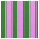 [ Thumbnail: Violet and Dark Green Stripes/Lines Pattern Fabric ]
