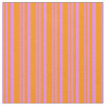 [ Thumbnail: Violet and Dark Orange Colored Pattern of Stripes Fabric ]