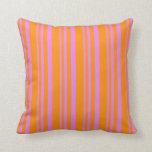 [ Thumbnail: Violet and Dark Orange Colored Pattern of Stripes Throw Pillow ]