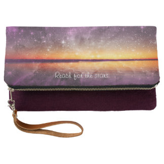 Violet and Gold Sunset w/Stars Fold Over Clutch