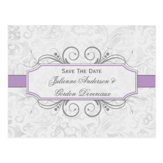 Violet and Gray Damask Save The Date Postcard