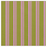 [ Thumbnail: Violet and Green Colored Pattern of Stripes Fabric ]