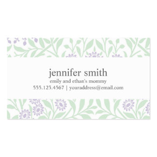 Violet and Green Floral Damask Pattern Double-Sided Standard Business Cards (Pack Of 100)