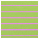 [ Thumbnail: Violet and Green Pattern of Stripes Fabric ]