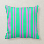 [ Thumbnail: Violet and Green Pattern Throw Pillow ]