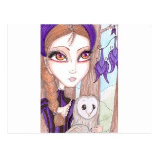 Violet and Owl Postcard