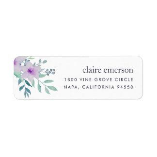 Violet and Sage Floral Return Address Label