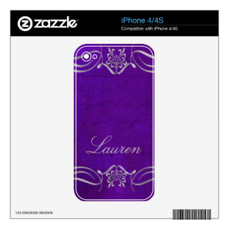 Violet and silver swirl skin for the iPhone 4S