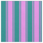 [ Thumbnail: Violet and Teal Colored Striped/Lined Pattern Fabric ]
