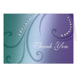 Violet and Teal Shimmer and Crystal Thank You Greeting Card