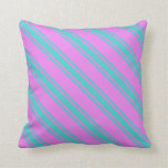 [ Thumbnail: Violet and Turquoise Colored Lined Pattern Pillow ]