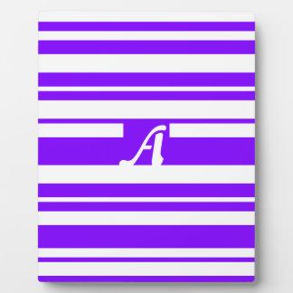 Violet and White Random Stripes Monogram Display Plaque