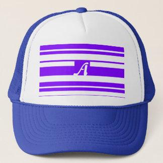 Violet and White Random Stripes Monogram Trucker Hat