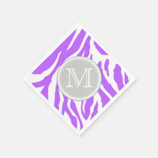 Violet and White Zebra Stripes with Monogram Paper Napkin