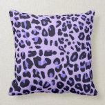 Violet animal print design throw pillows