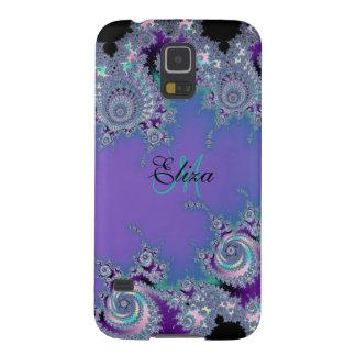 Violet Aqua Black Fractal Case For Galaxy S5