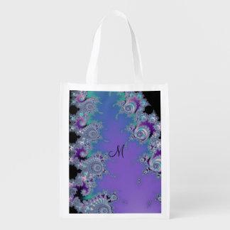 Violet Aqua Black Fractal Grocery Bag