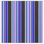 [ Thumbnail: Violet, Aquamarine, Blue, Mint Cream & Black Lines Fabric ]