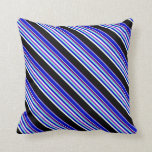 [ Thumbnail: Violet, Aquamarine, Blue, Mint Cream & Black Lines Throw Pillow ]