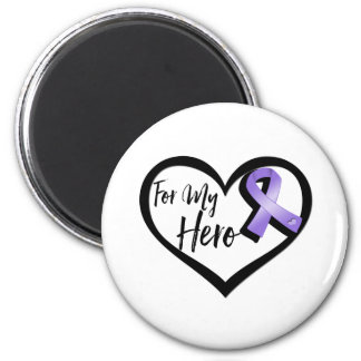 Violet Awareness Ribbon For My Hero 2 Inch Round Magnet