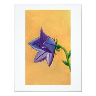 Violet balloon flower gouache painting pretty art card