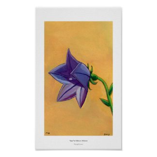 Violet balloon flower gouache painting pretty art poster
