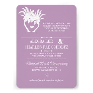 Violet Beach Palm Tree Destination Chalkboard Personalized Invitations