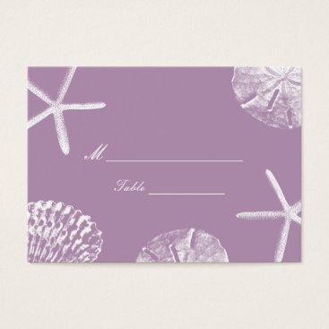 Beach Themed Violet Beach Theme Seashells Wedding Place Card